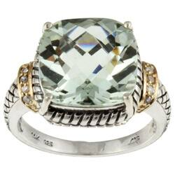 Meredith Leigh 14k Gold and Silver Green Amethyst and Diamond Accent Ring|https://ak1.ostkcdn.com/images/products/3711591/Meredith-Leigh-14k-Gold-and-Silver-Green-Amethyst-and-Diamond-Accent-Ring-P11519878.jpg?impolicy=medium