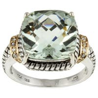 Meredith Leigh 14k Gold and Silver Green Amethyst and Diamond Accent Ring