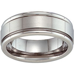 Unisex Brilliant Titanium Grooved Band
