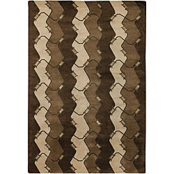Artist's Loom Hand-knotted Contemporary Abstract Wool Rug - 5' x 7'6 - Thumbnail 0