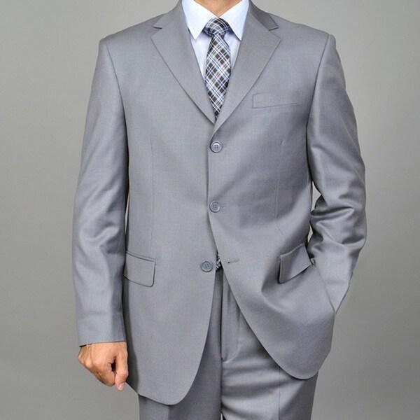 Men's 3-button Solid Grey Suit
