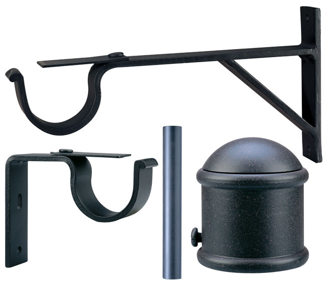 Shop Rustic Iron Drapery Rod Set With End Cap Finial