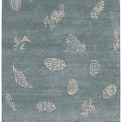 Hand-knotted Shell Motif Wool Rug (2'6 x 10') - Thumbnail 2