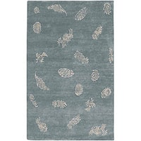 Hand-knotted Shell Motif Wool Area Rug - 2'6 x 10'