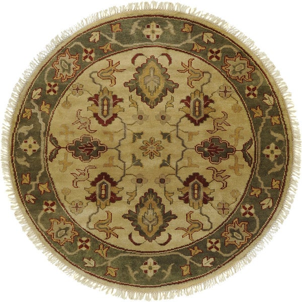 Hand-knotted Green/Ivory Southwestern Park Ave New Zealand Wool Rug (8' Round)