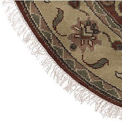 Hand-knotted Burgundy/Ivory Southwestern Park Ave.  Wool Rug (8' Round) - Thumbnail 2
