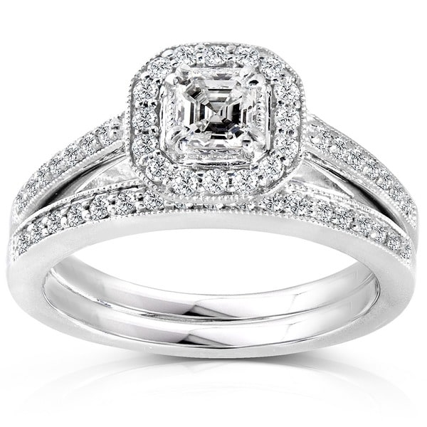 Annello by Kobelli 14k Gold 5/8ct TDW Asscher Diamond Bridal Halo Ring Set (H-I, SI1-SI2)