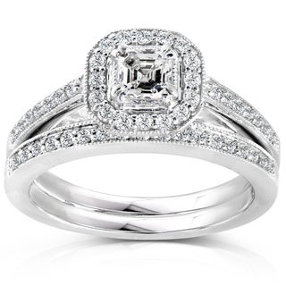 Annello by Kobelli 14k White Gold 5/8ct TDW Asscher Diamond Halo Bridal Ring Set (More options available)