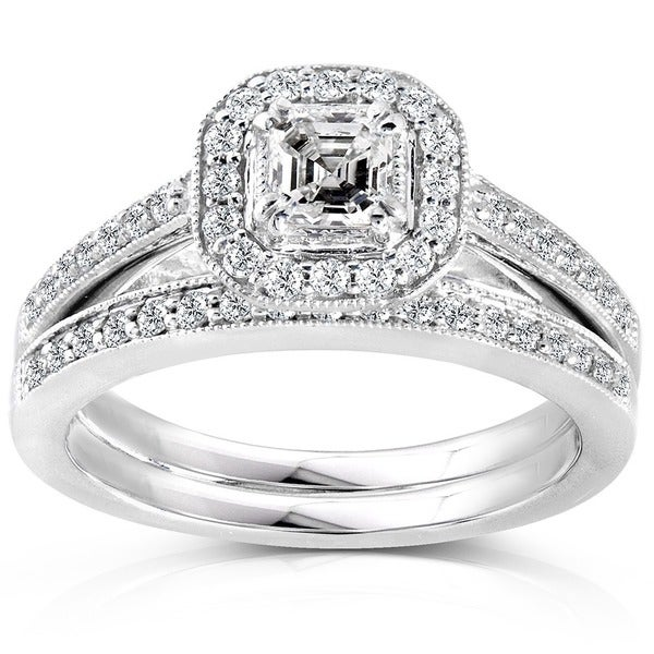 Annello by Kobelli 14k White Gold 5/8ct TDW Asscher Diamond Halo Bridal Ring Set