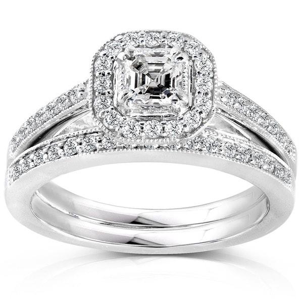 Annello by Kobelli 14k White Gold 5/8ct TDW Asscher Diamond Halo Bridal Ring Set