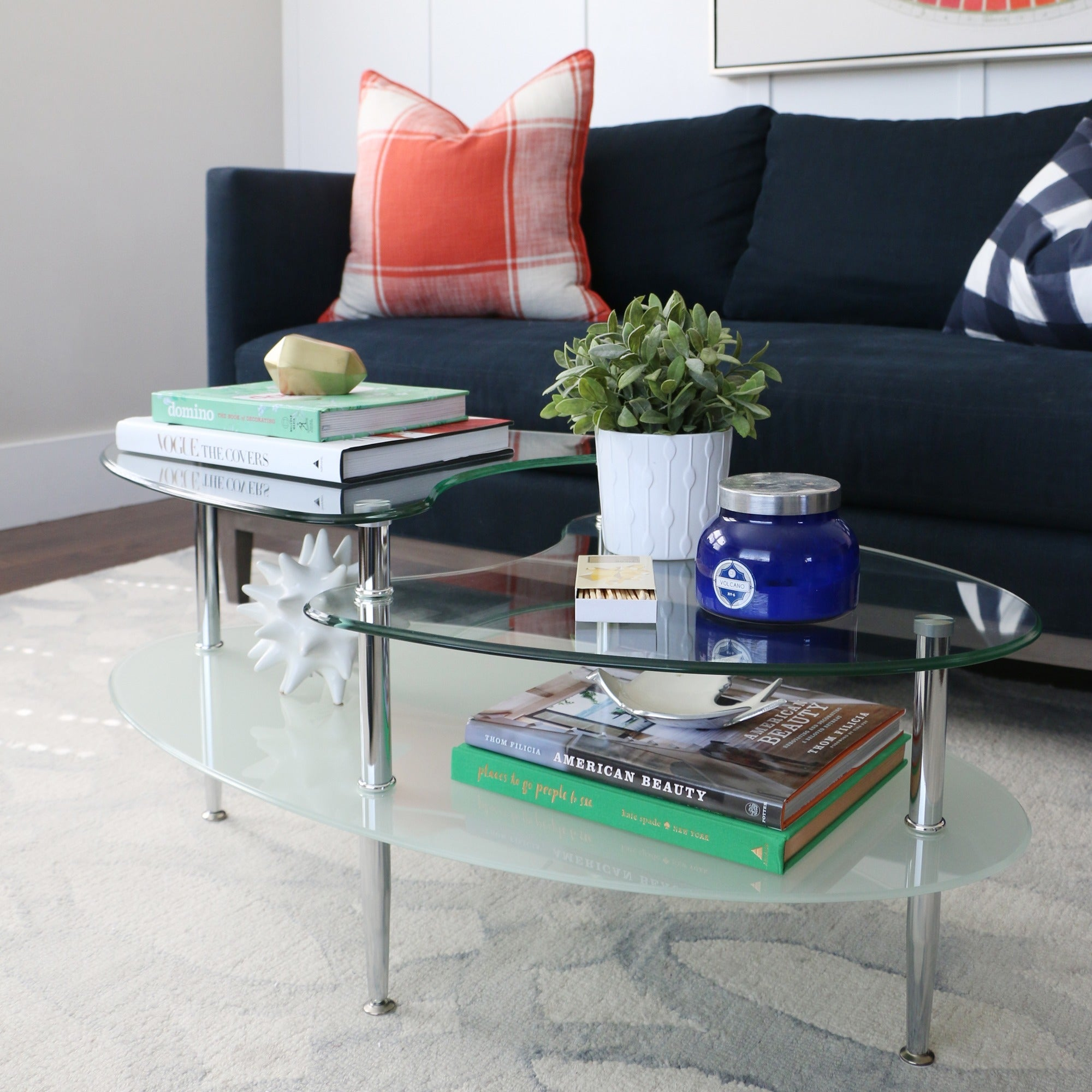 Oval Coffee Table With Frosted Gl