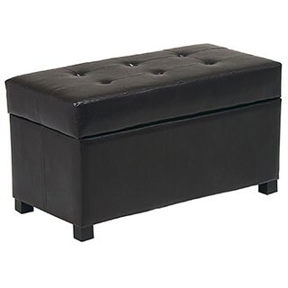 Office Star Metro Storage Faux Leather Ottoman