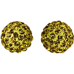 Gioelli 14k Gold Olivine Crystal Ball Earrings