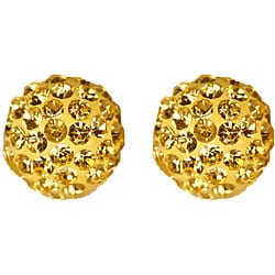 Gioelli 14k Yellow Gold Jonquil Crystal Ball Earrings