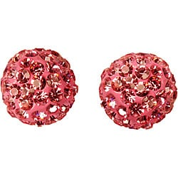 Gioelli 14k Gold Light Rose Crystal Ball Earrings