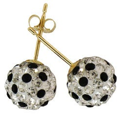 Gioelli 14k Gold Black and White Crystal Ball Earrings