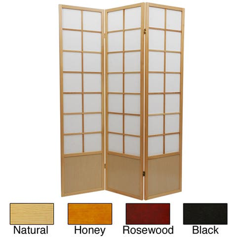 Handmade 6' Wood and Rice Paper Zen Room Divider