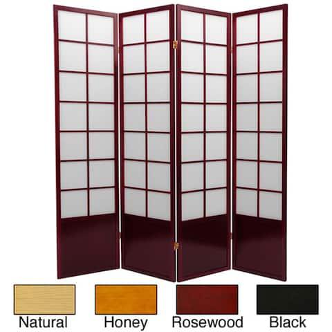 Handmade 6' Wood and Rice Paper Zen Room Divider