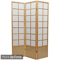 Handmade Wood and Rice Paper 6-foot 5-panel Zen Room Divider (China)