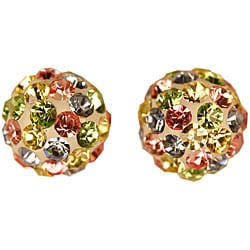 Gioelli 14k Gold Multicolor 7mm Crystal Ball Earrings
