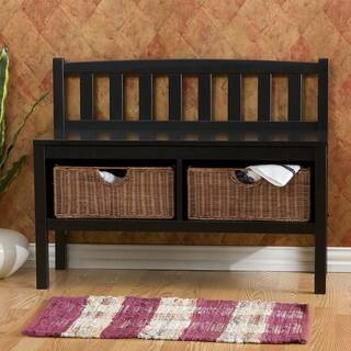 Harper Blvd Beacon Black Bench with Rattan Basket Storage|https://ak1.ostkcdn.com/images/products/3725785/P11787963.jpg?impolicy=medium