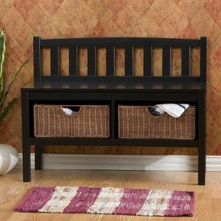 Laurel Creek Martin Black Bench with Rattan Basket Storage