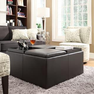 Montrose Faux Dark Brown Leather Multipurpose Storage Ottoman By Inspire Q Clic