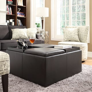 Montrose Faux Dark Brown Leather Multipurpose Storage Ottoman By INSPIRE Q  Classic