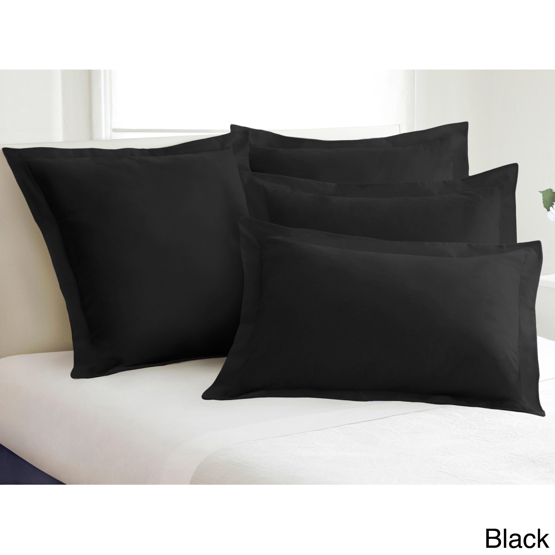Cotton Blend Poplin Tailored Decorative Pillow Shams (Pac...