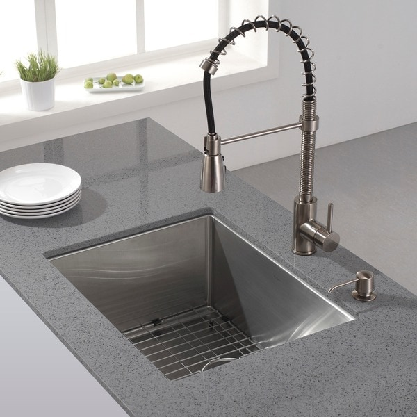 KRAUS 23 Inch Undermount Single Bowl 16 Gauge Stainless Steel Kitchen ...