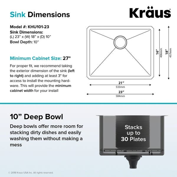 Shop Kraus KHU101-23 Undermount 23 inch 1-Bowl Stainless ...