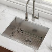 Kraus KHU101-23 Undermount 23-in 16G 1-Bowl Satin Stainless Steel Kitchen Sink, Grid, Strainer, Towel