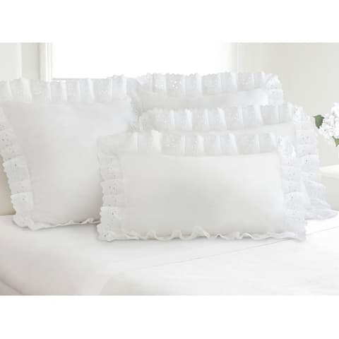 Ruffled Lauren Eyelet Cotton Blend Pillow Shams (Pack of 2)