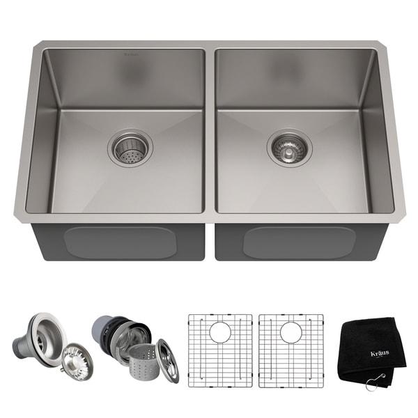 Kraus standart pro 33 inch 16 gauge undermount 5050 double bowl kraus standart pro 33 inch 16 gauge undermount 5050 double bowl stainless workwithnaturefo