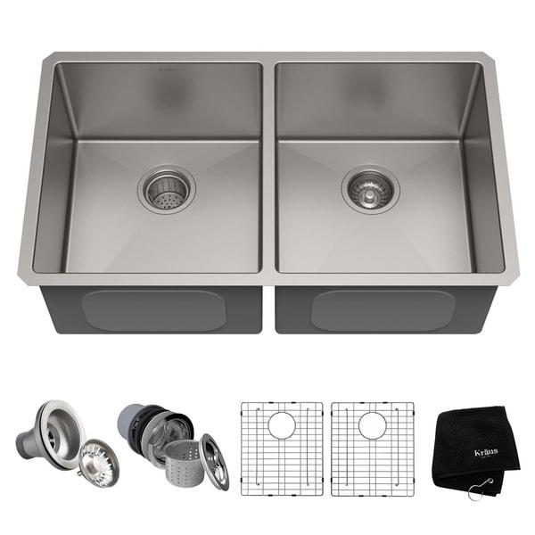 Kraus KHU102-33 Undermount 33-in 16G 50/50 2-Bowl Satin Stainless Steel Kitchen Sink, Grids, Strainers, Towel