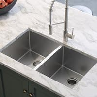 KRAUS 33 Inch Undermount 50/50 Double Bowl 16-Gauge Stainless Steel Kitchen Sink with NoiseDefend Soundproofing
