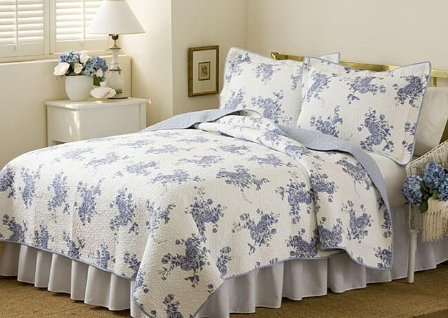 'Melissa Blue' 3-piece Quilt Set