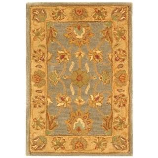 Safavieh Handmade Heritage Traditional Kerman Blue/ Beige Wool Rug (2' x 3')