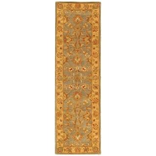 Safavieh Handmade Heritage Traditional Kerman Blue/ Beige Wool Runner (2'3 x 8')