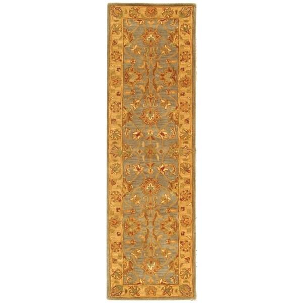 Safavieh Handmade Heritage Traditional Kerman Blue/ Beige Wool Runner (2'3 x 12')