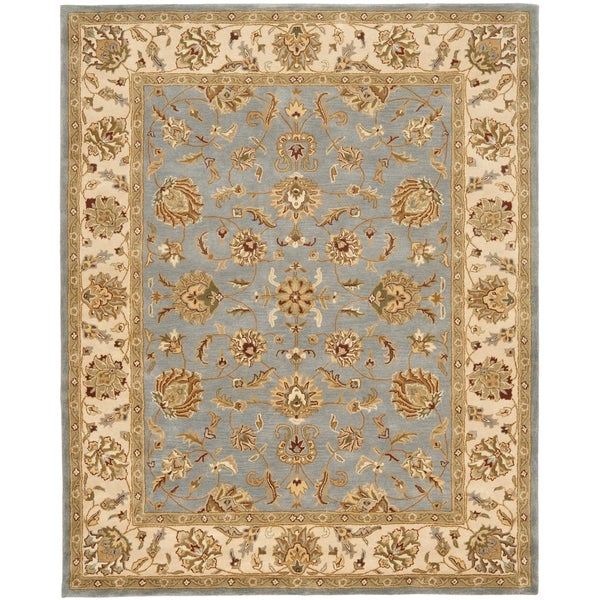 Safavieh Handmade Heritage Traditional Kerman Blue/ Beige Wool Rug (9'6 x 13'6)