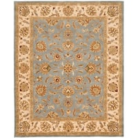 Safavieh Handmade Heritage Traditional Kerman Blue/ Beige Wool Rug - 9'6 x 13'6