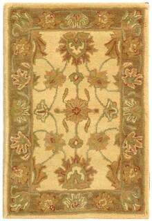 Safavieh Handmade Heritage Traditional Kerman Ivory/ Brown Wool Rug (2' x 3')