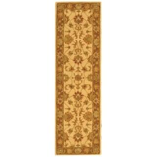 Safavieh Handmade Heritage Traditional Kerman Ivory/ Brown Wool Runner (2'3 x 8')