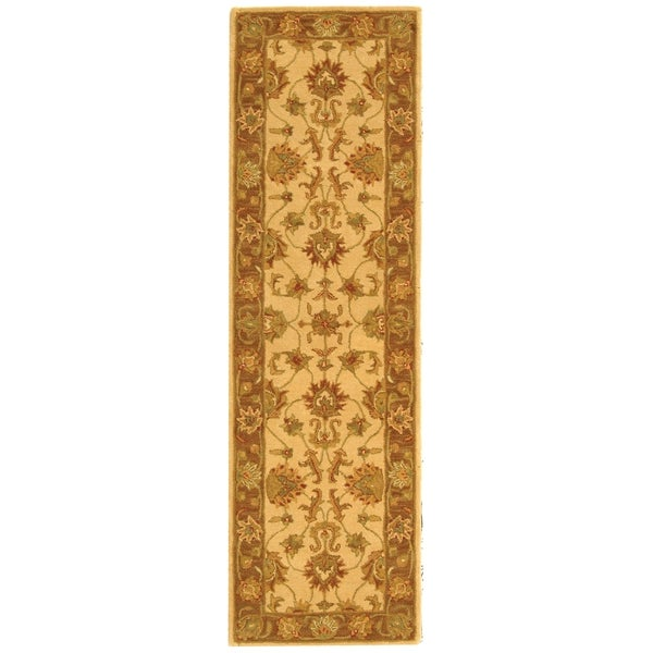 Safavieh Handmade Heritage Traditional Kerman Ivory/ Brown Wool Runner (2'3 x 8')