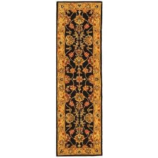 Safavieh Handmade Heritage Traditional Kerman Charcoal/ Gold Wool Runner (2'3 x 8')