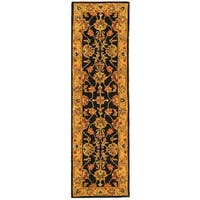 "Safavieh Handmade Heritage Traditional Kerman Charcoal/ Gold Wool Runner Rug - 2'3"" x 8'"