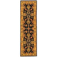 "Safavieh Handmade Heritage Traditional Kerman Charcoal/ Gold Wool Runner Rug - 2'3"" x 10'"