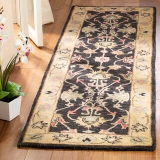 Safavieh Handmade Heritage Traditional Kerman Charcoal/ Gold Wool Runner (2'3 x 12')