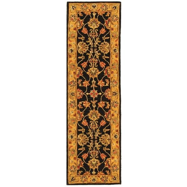 Safavieh Handmade Heritage Traditional Kerman Charcoal/ Gold Wool Runner (2'3 x 14')